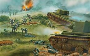 Картинка рисунок, нападение, танки, Великая Отечественная война, КВ-1, тяжелые танки, советские