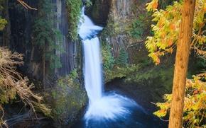 Картинка природа, скалы, водопад, Осень, nature, autumn, waterfall