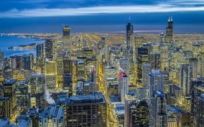 Обои небо, свет, ночь, город, синева, вид, здания, высота, дома, небоскребы, освещение, Чикаго, панорама, USA, США, ...