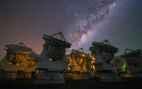 Картинка небо, звезды, Млечный путь, радиотелескоп