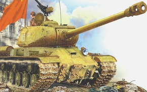 Картинка Рисунок, тяжелый танк, ис-2, ис-122, иосиф сталин, танкист