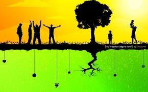 Картинка жизнь, корень, вектор, Дерево