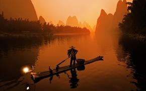Обои рыбак, лодка, сепия, япония
