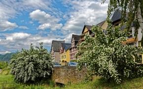 Обои горы, дома, Германия, деревья, Ediger-Eller, цветут, небо, трава, облака