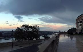 Картинка city, love, umbrella, garden, castle, rainy day, hungary, mobile phone, budape, panoramaold