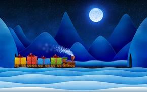 Обои Новый год, подарки, паровоз