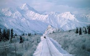 Картинка Природа, Дорога, Горы, Снег, Аляска