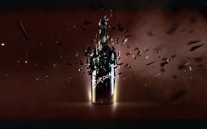 Обои свет, бутылка, осколки, отражение