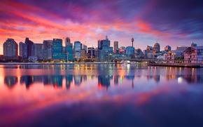 Картинка город, река, рассвет, здания, дома, Sydney