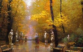 Картинка осень, парк, люди, дождь, дорожка, зонты, скамейки, скульптуры, опавшие листья