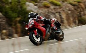 Картинка скорость, трасса, yamaha, motorcycle