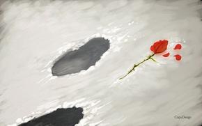 Картинка цветок, снег, цветы, следы, роза, лепестки, прощай, goodby