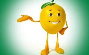 Картинка взгляд, улыбка, лимон, класс, lemon, зеленый фон, eyes, smile, class, green background