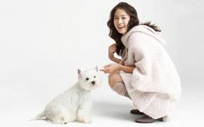 Картинка девушка, азиатка, собачка