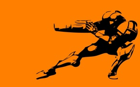 Обои поза, минимализм, оранжевый, робот, фон
