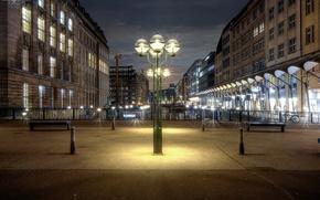 Обои мосты, дома, Германия, Гамбург, огни, канал, ночь, лавочки, фонари