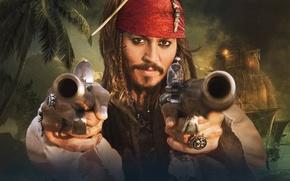 Картинка воробей, Пираты Карибского моря, джек, берегах, На странных
