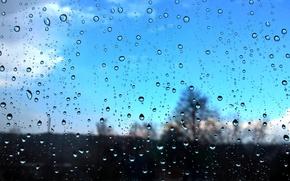 Картинка небо, стекло, капли, макро, дождь