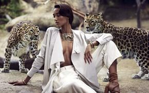 Картинка girl, Mali, cheetahs, for Harpers bazaar, Bohemian style Safari, African beauties