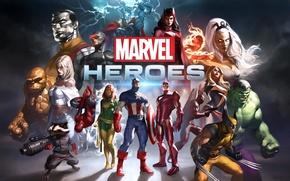 Картинка Джонни Сторм, The Thing, Человек паук, ХАЛК, Тоr, Человек-факел, команда, HULK, Мисс Марвел, лого, Deadpool, ...