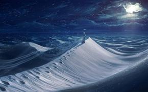 Картинка небо, облака, снег, следы, Девушка, Луна, платье, дюны
