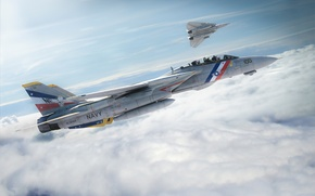 Картинка небо, полет, самолет, истребитель, f-14, tomcat