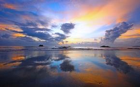 Картинка море, небо, облака, закат, отлив
