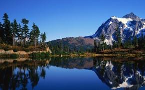природа, пейзаж озеро, гора, небо обои