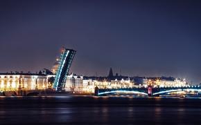 Картинка ночь, мост, огни, река, Russia, набережная, питер, санкт-петербург, St. Petersburg