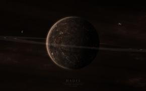Картинка поверхность, трещины, планета, кольца, спутники, hades