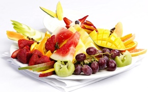 Картинка apple, яблоко, апельсин, арбуз, киви, клубника, виноград, фрукты, манго, grape, orange, strawberry, watermelon