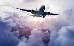 Картинка небо, облака, самолет, летит, в воздухе, пассажирский, высоко, авиалайнер