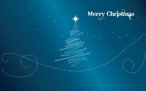 Картинка синий, фон, праздник, голубой, звезда, елка, новый год, merry christmas