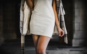 Картинка девушка, стиль, ноги, платье