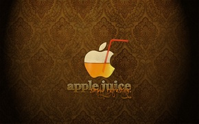Обои сок, Apple, логотип, трубочка