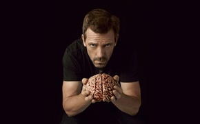 Обои чёрный, мужчина, мозг, Доктор Хаус, вгляд