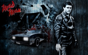 Картинка машина, настроение, кожа, актер, черно-белое, мужчина, автомобиль, Interceptor, полицейский, Мэл Гибсон, Mel Gibson, Mad Max, …
