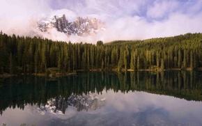 Обои горы, лес, озеро, отражение