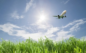 Обои зелень, поле, небо, трава, солнце, облака, полет, самолет, взлет