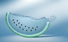 Картинка арбуз, семечки, креатив, вода, watermelon
