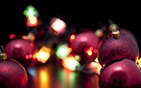 Картинка огни, праздник, шары, новый год, рождество, christmas, new year, фонарики