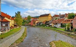 Картинка река, камни, улица, дома, Чехия, архитектура, krumlov., Ceskiy