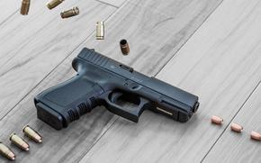 Картинка пистолет, оружие, патроны, гильзы, австрийский, самозарядный, Glock 32