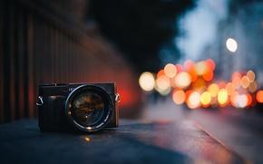 Картинка макро, город, вечер, размытость, фотоапарат, боке