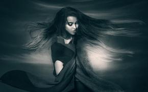 Картинка портрет, девушка, In the Air, Joachim Bergauer, волосы