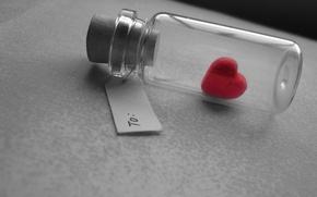 Обои признание, макро, бутылка, сердечко, записка, сердце, подарок, любовь, серый фон, настроение, love, heart, пузырек