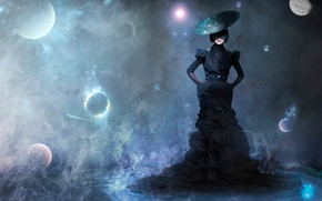 Картинка space, style, vision, abstraction, Magic, the girl in the black