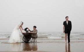 Картинка берег, невеста, жених, портной