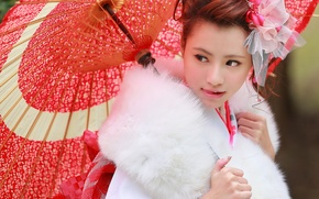Картинка лицо, стиль, зонтик, мех, азиатка