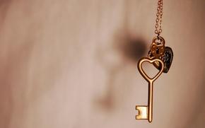 Обои макро, замок, сердце, ключ